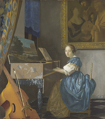 Johannes Vermeer (1632-1675), Young Woman Seated at the Virginal, about  1670-2, oil on canvas, 98.7 x 103.9 cm. Salting Bequest, 1920, National Gallery, London, Great Britain. © National Gallery, London / Art Resource, NY