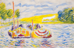 Mark Landis (b. 1955), Untitled, undated, in the style of Paul Signac (French, 1863–1935), watercolor on paper. Property of the Oklahoma City Museum of Art. Photo by Shannon Kolvitz.